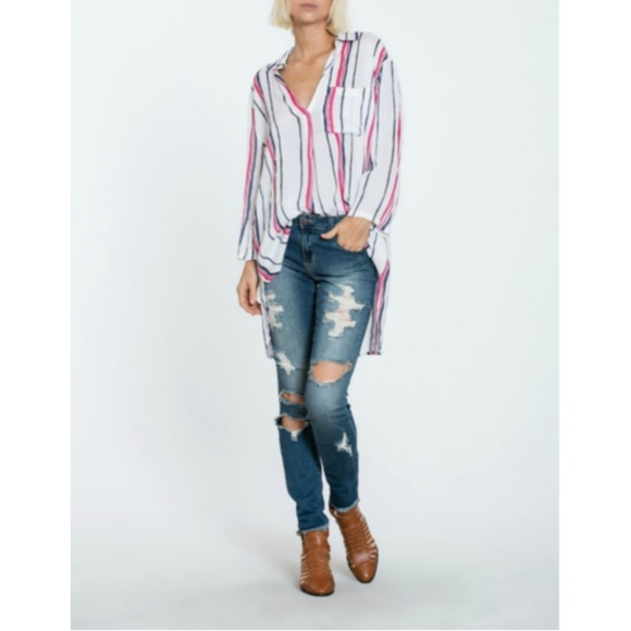 En Creme Other - Stripe Shirt Cover Up